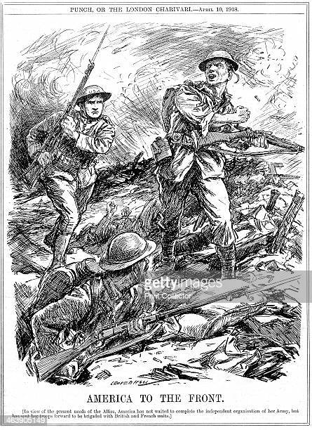 American reinforcements to aid the Allied troops before the main US Army arrived World War 1 1918 Cartoon by L Ravenhill from Punch London 10 April...