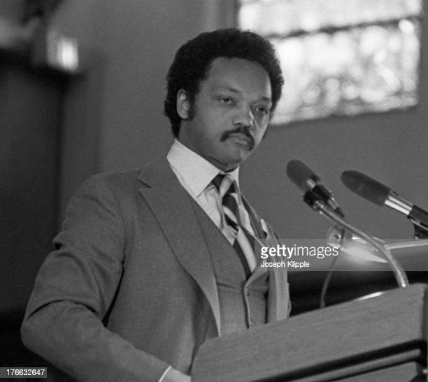 American religious and Civil Rights leader Reverend Jesse Jackson delivers an address from the pulpit at Shiloh Baptist Church Washington DC May 3...
