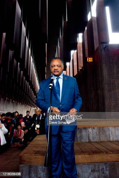 American religious leader, politician, and Civil Rights activist Jesse Jackson speaks at the opening of the Equal Justice Initiative Museum and...