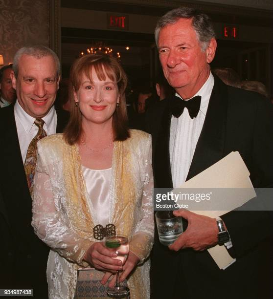 BOSTON MA APRIL 14 American Repertory Theater actor Charles Levin Meryl Streep and ART director Robert Brustein at a party for Brustein at the Four...