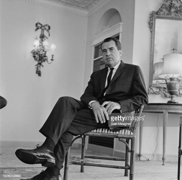 American Republican Party politician and lawyer Richard Nixon former Vice President of the United States pictured seated in a room at the Dorchester...