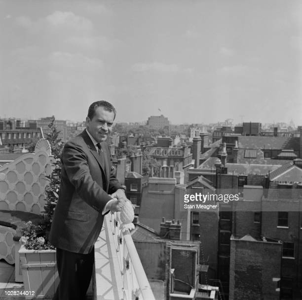 American Republican Party politician and lawyer Richard Nixon former Vice President of the United States pictured standing in the roof garden of the...