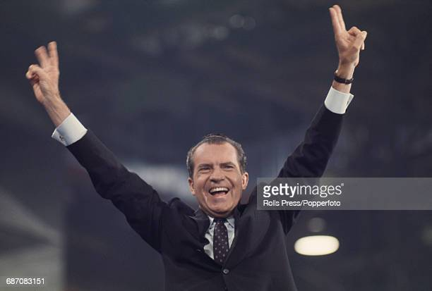 American Republican Party politician Richard Nixon waves to delegates and spectators after winning the Republican Party nomination for President at...