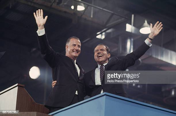 American Republican Party politicians Governor Spiro Agnew of Maryland and Richard Nixon wave to delegates and spectators after winning the...