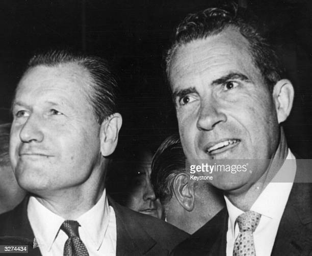 American Republican politicians Governor Nelson Aldrich Rockefeller of New York with Richard Milhous Nixon at the New Hampshire Primary Presidential...