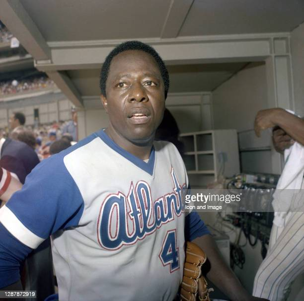 """American retired baseball right fielder and member of the Major League Baseball Hall of Fame, """"Hammerin'"""" Hank Aaron on the evening he hit his 715th..."""