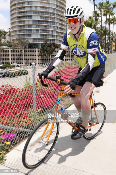 American retired basketball player and television sportscaster Bill Walton rides before stage one of the 13th Amgen Tour of California 2018 a 1345km...