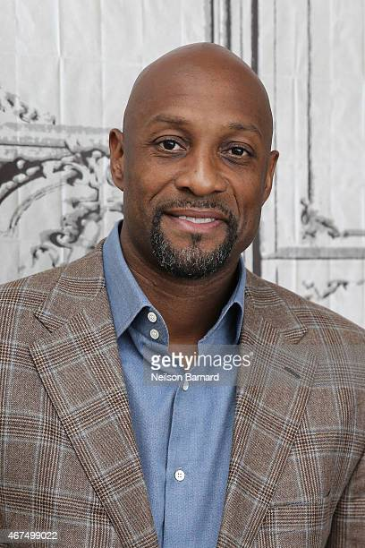 American retired professional basketball player Alonzo Mourning discusses March Madness at AOL Studios in New York on March 25 2015 in New York City