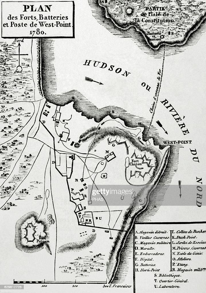 American Revolutionary War (1775-1783). Map. Fort Clinton (West ...
