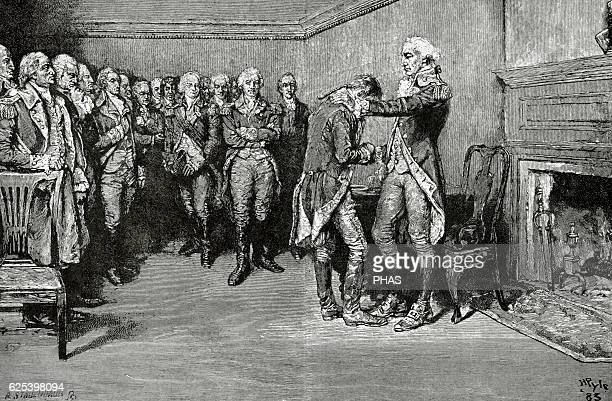 American Revolutionary War New York city George Washington's farewell to his officers in the Fraunces Tavern on December 4th 1783 to the resign as a...