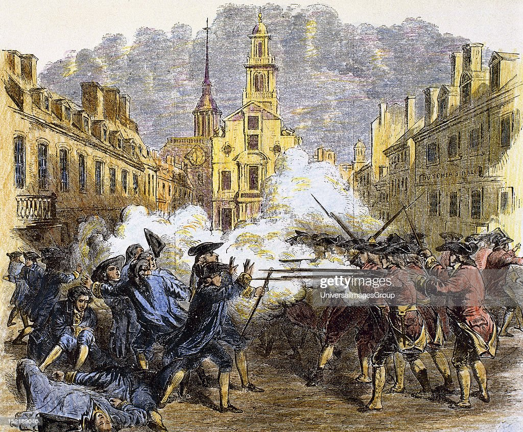 American Revolutionary War (1775-1783), The Boston Massacre or Boston riot (1770), British redcoats killed five civilian men.