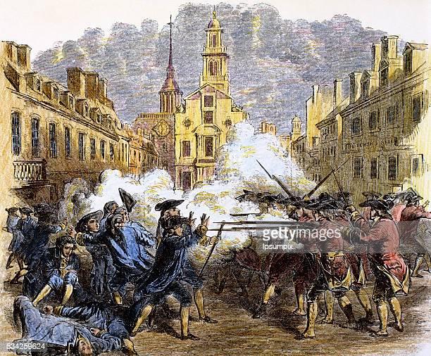 American Revolutionary War . The Boston Massacre or Boston riot . British redcoats killed five civilian men.