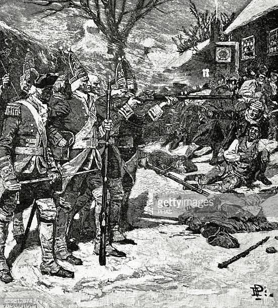 American Revolutionary War . The Boston Massacre or Boston riot . British redcoats killed five civilian men. Engraving.