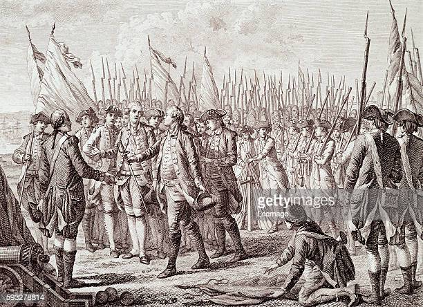 The surrender of Lord Cornwallis 19 October 1781 at Yorktown Engraving 19th century Milan Private collection