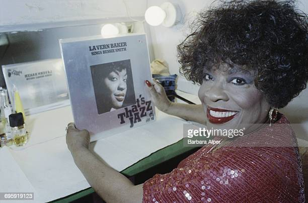 American rhythm and blues singer LaVern Baker backstage at the Village Gate in New York City with her 1958 album 'That's Jazz LaVern Baker Sings...