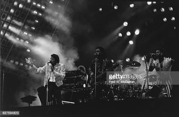 American Rhythm and Blues Soul and Pop group the Jacksons perform onstage at Giants Stadium during the 'Victory' tour East Rutherford New Jersey...