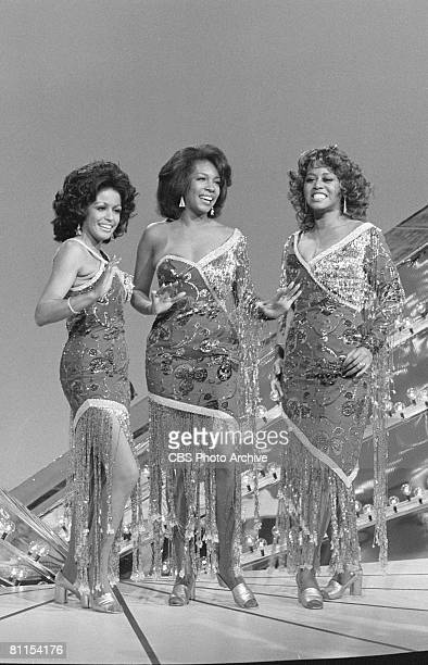 American rhythm and blues soul and pop group the Supremes perform on The Sonny Cher Comedy Hour January 17 1974 Pictured are from left Mary Wilson...