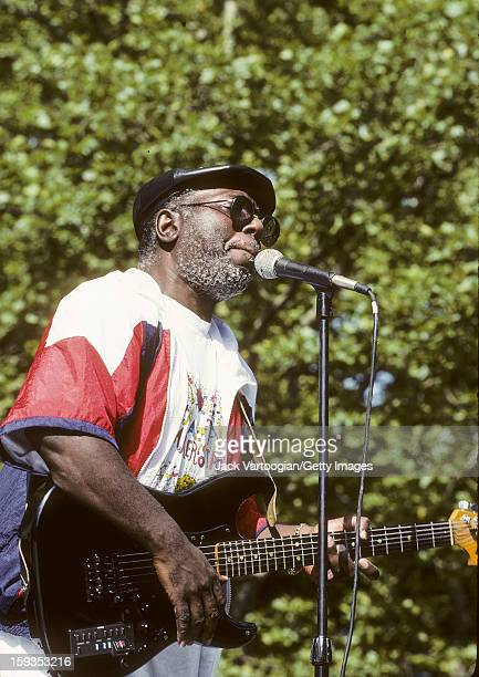 American rhythm & blues and soul musician Curtis Mayfield performs at Central Park's SummerStage, New York, New York, July 7, 1990. Five weeks later,...