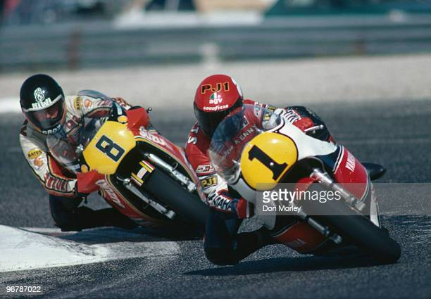 American rider Kenny Roberts leads New Zealander Graeme Crosby in the French motorcycle Grand Prix 500cc class at the Circuit Paul Ricard France 1981
