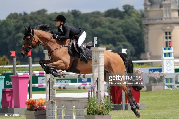 American rider Mary Kate Olsen competes during the Longines Global Champions Tour of Chantilly at Hippodrome de Chantilly on July 13 2019 in...