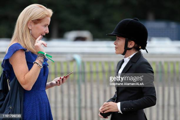 American rider Mary Kate Olsen is giving an interview to Jennifer Donald Horse Round journalist during the Longines Global Champions Tour of...