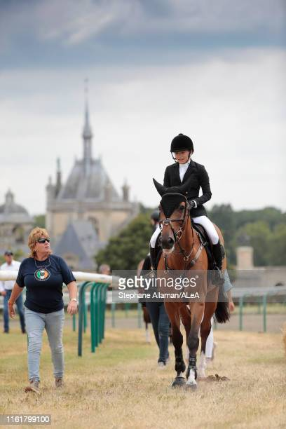 American rider Mary Kate Olsen is receiving advices fro her coach during the Longines Global Champions Tour of Chantilly at Hippodrome de Chantilly...