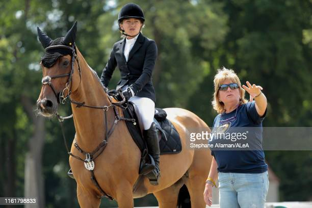 American rider Mary Kate Olsen is receiving advices from her coach during the Longines Global Champions Tour of Chantilly at Hippodrome de Chantilly...
