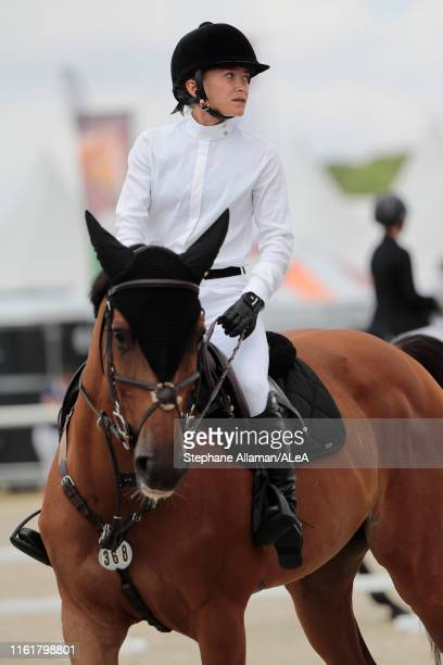 American rider Mary Kate Olsen trains during the Longines Global Champions Tour of Chantilly at Hippodrome de Chantilly on July 13 2019 in Chantilly...