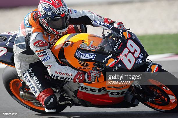 American rider Nicky Hayden of Honda speeds during a free practice session of Qatar Grand Prix World Championships in Doha 29 September 2005 Qatar...