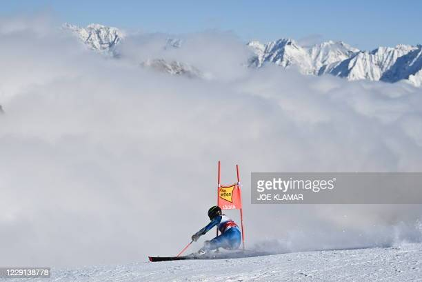 American River Radamus competes during the first run of the men's giant slalom event during the FIS Alpine Ski World Cup in Soelden, Austria, on...