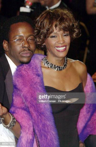 American R'n'B singer Bobby Brown and his wife soul singer Whitney Houston at the Vanity Fair Post Oscars Party held at Morton's in Los Angeles USA
