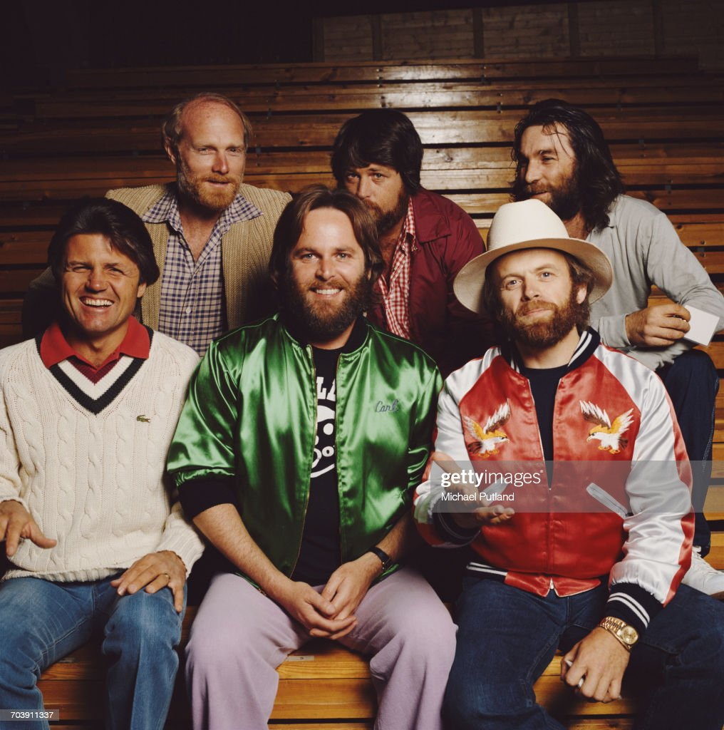 American rock and pop group The Beach Boys in Oslo, Norway, 1982. Back row, left to right: Mike Love, Brian Wilson and Dennis Wilson (1944 - 1983). Front row, Bruce Johnston, Carl Wilson (1946 - 1998) and Al Jardine.