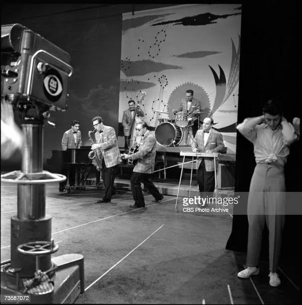 American rock and roll band 'Bill Haley and His Comets' perform on the television program 'The Big Record' November 13 1957 The band is from left...