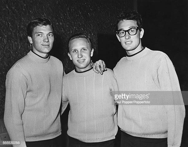 American rock and roll band The Crickets at a press reception April 1958 Left to right drummer Jerry Allison bassist Joe B Mauldin and guitarist and...
