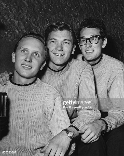 American rock and roll band the Crickets at a press reception April 1958 Left to right bassist Joe B Mauldin drummer Jerry Allison and guitarist and...