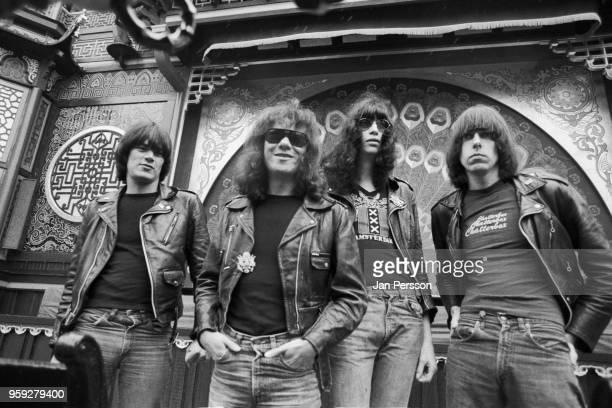 American rock and roll group Ramones Copenhagen June 1977 LR Dee Dee Ramone Tommy Ramone Joey Ramone Johnny Ramone