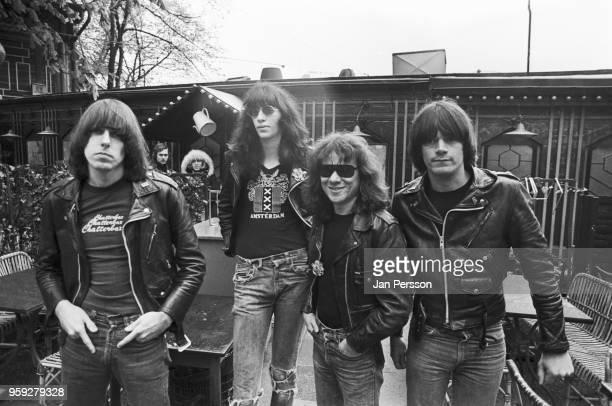 American rock and roll group Ramones, Copenhagen, June 1977. L-R Johnny Ramone , Joey Ramone , Tommy Ramone , Dee Dee Ramone .