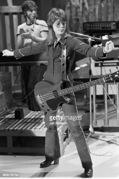 American rock and roll musician Suzi Quatro performing on a TV show Copenhagen Denmark c1973