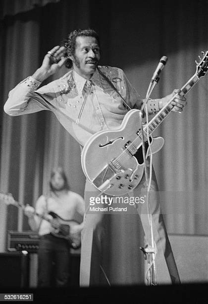 American rock and roll singer and guitarist Chuck Berry performing at the Lewisham Odeon south London 19th February 1975