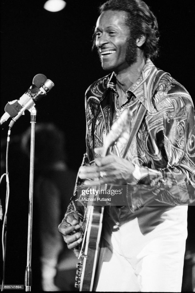 American rock and roll singer and guitarist Chuck Berry performing at the London Rock and Roll Show, Wembley Stadium, London, 5th August 1972. The concert was the first ever musical event to be held at the stadium.