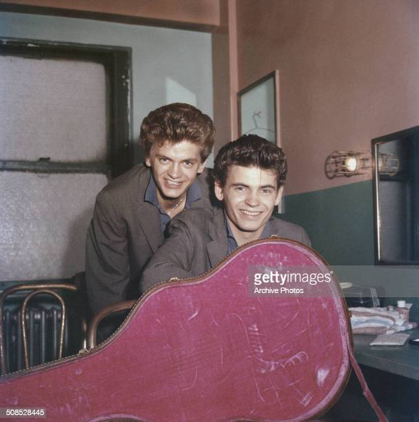 American rock and roll singers the Everly Brothers Phil and Don Everly circa 1958