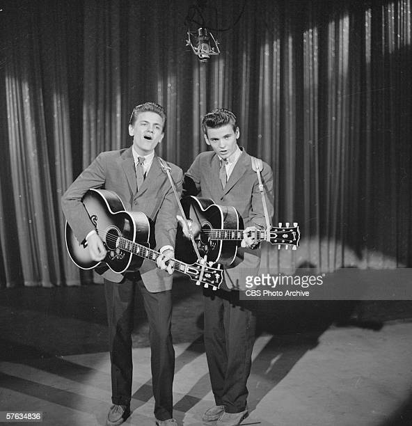American rock and roll singers The Everly Brothers Phil and Don play guitar and sing on 'The Ed Sullivan Show' New York New York March 4 1957