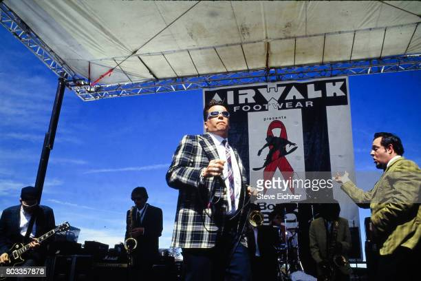 American Rock and Ska group the Mighty Mighty Bosstones perform onstage during the LifeBeat Board Aid 2 benefit concert at Big Bear Lake California...