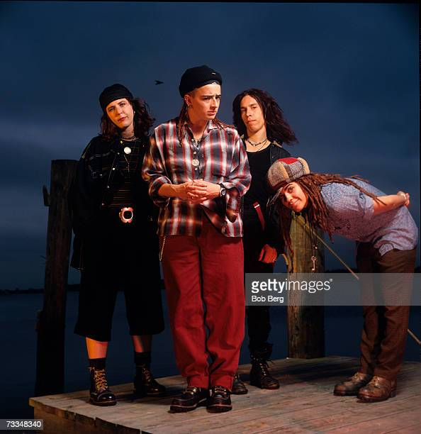 American rock band 4 Non Blondes drummer Dawn Ricardson bassist Christa Hillhouse guitarist Roger Rocha and lead vocalist Linda Perry pose for a July...