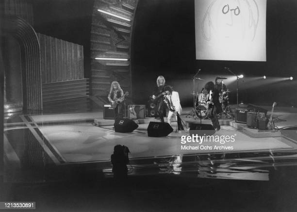 American rock band Aerosmith perform at the 33rd Annual Grammy Awards at Radio City Music Hall in New York City USA during a tribute to musician John...