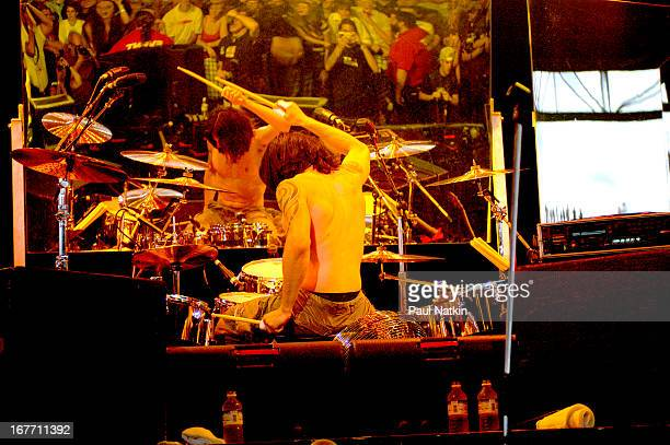 American rock band Audioslave performs on stage Milwaukee Wisconsin July 11 2003 Pictured is drummer Brad Wilk