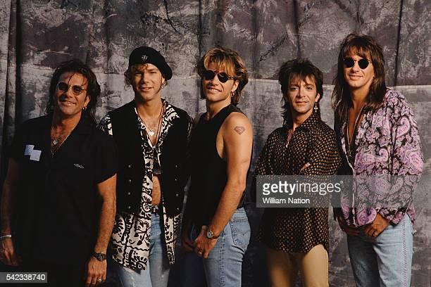 drummer and percussionist Tico Torres keyboard player David Bryan musician songwriter lead singer and founder John Bon Jovi bass guitarist Alec John...