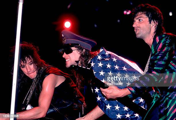 American rock band Bon Jovi performs on stage Illinois early March 1987 Pictured are from left Richie Sambora Jon Bon Jovi and Alec John Such