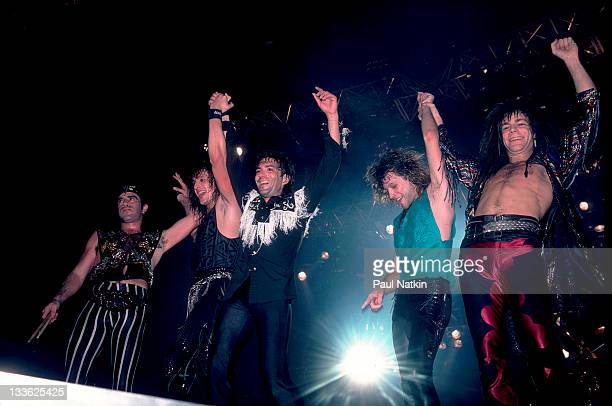 American rock band Bon Jovi waves to fans following a performance Illinois early March 1987 Pictured are from left Tico Torres Richie Sambora Alec...
