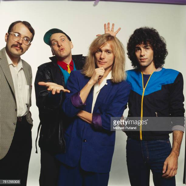 American rock band Cheap Trick New York November 1980 Left to right drummer Bun E Carlos guitarist Rick Nielsen singer Robin Zander and bassist Tom...